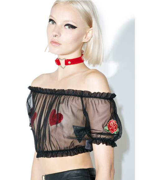 Sheer Rose Crop Top