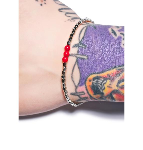 Ettika Triple Red Coral Bead Silver Bracelet