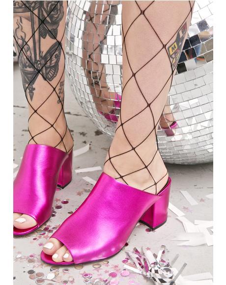 Pink Infinity Metallic Mules
