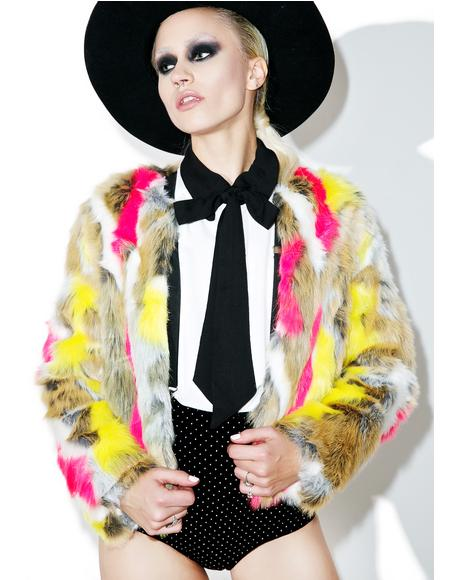 Abstract Anti Matter Faux Fur Jacket
