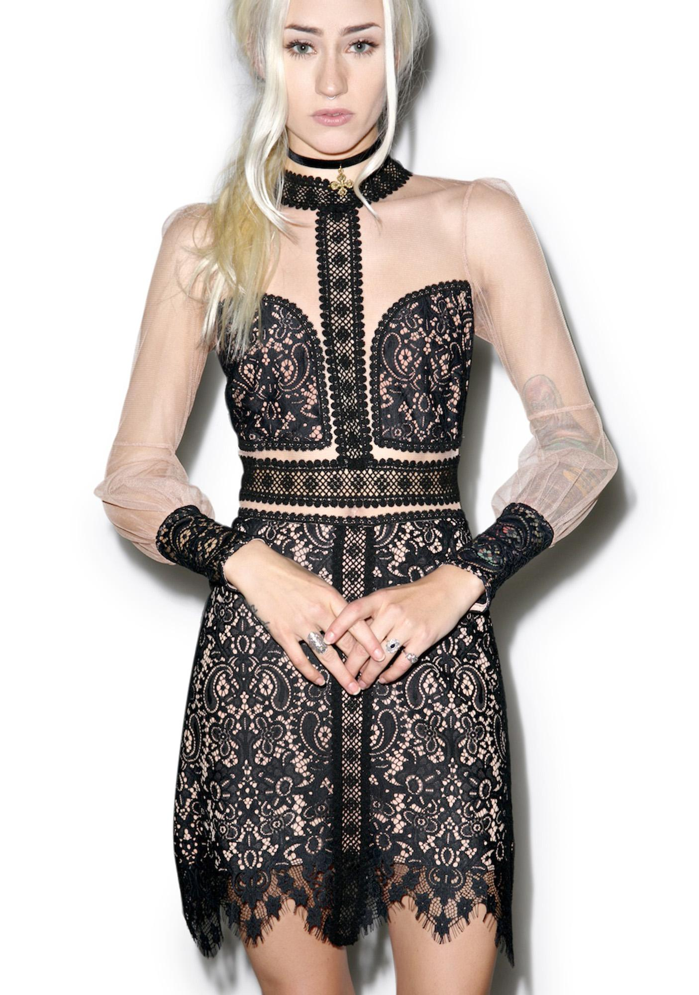 For Love & Lemons Dark Vivian Mini Dress