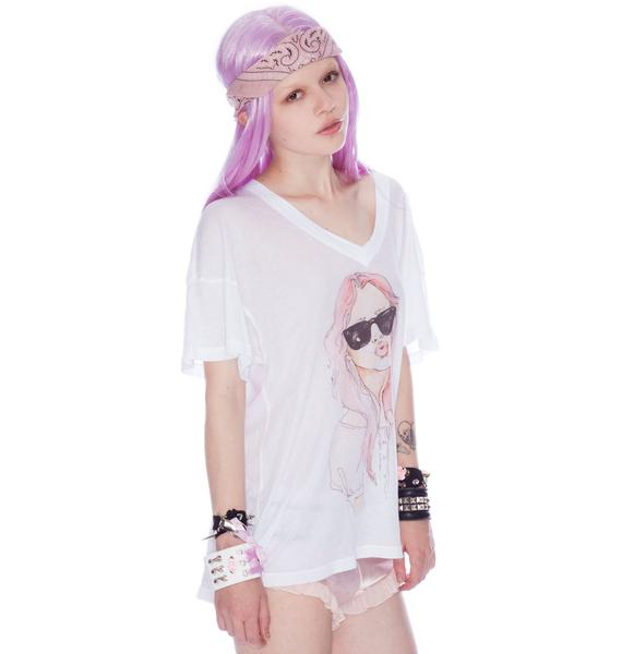 Wildfox Couture Ella Character Drawing Oversized Vneck Tee