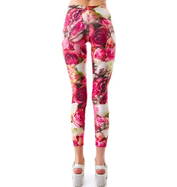 Zara Terez Pink Flower Patch Leggings