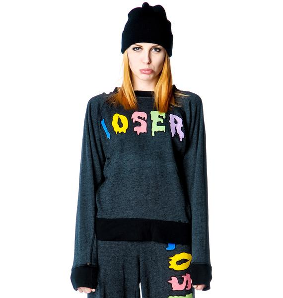 Wildfox Couture Loser Baby Destroyed Sweater