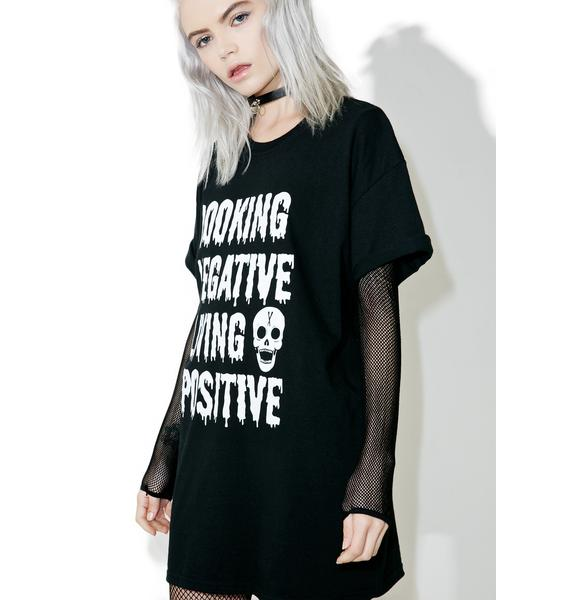 DeathxCard Apparel  Looking Negative Living Posi Tee