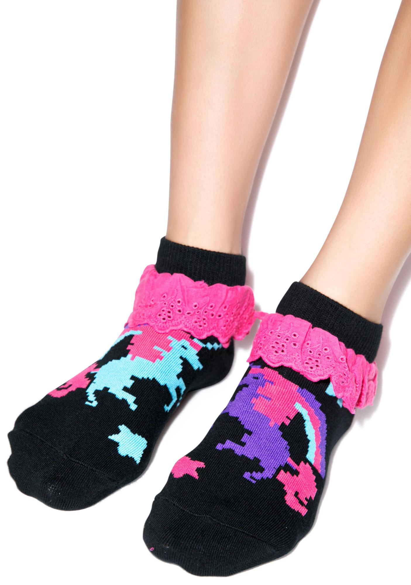 Too Fast Pixel Unicorn Eyelet Ankle Sock