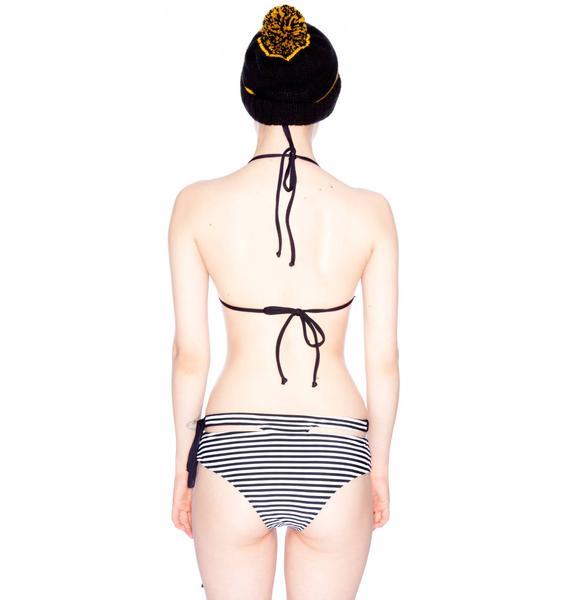 One Teaspoon Caribbean Stripe Bone Tri Bikini
