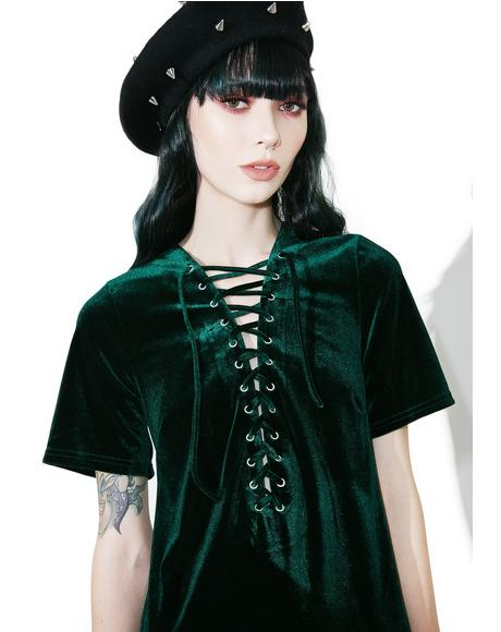 Sage Velvet Lace-Up Dress