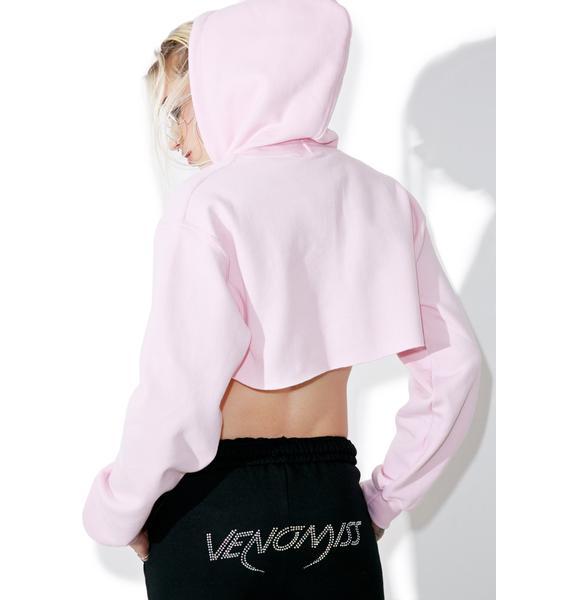 Venomiss NYC Pink Cropped Hoodie