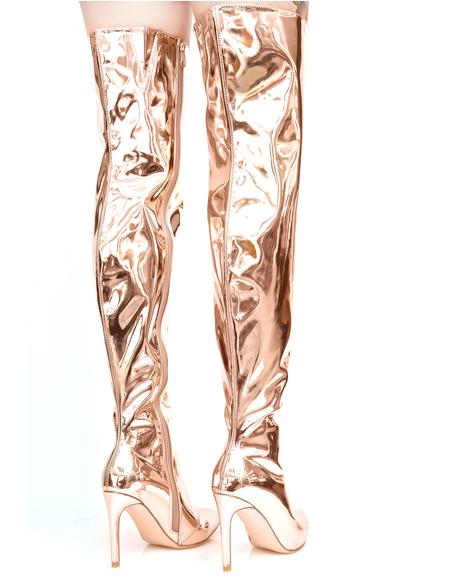Gilded Space Oddity Thigh-High Boots