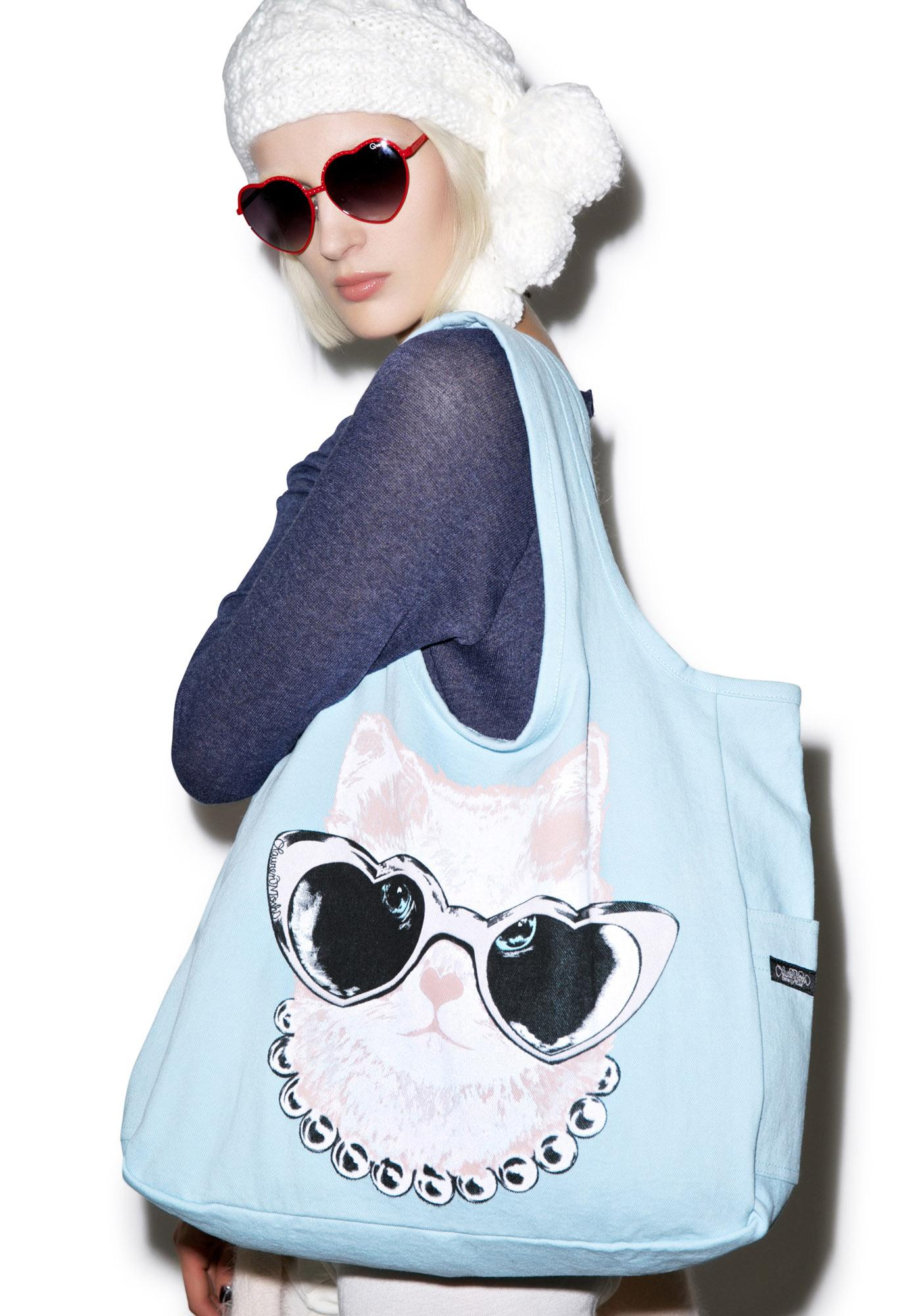 Lauren Moshi Taylor Pink Cat Canvas Tote Bag