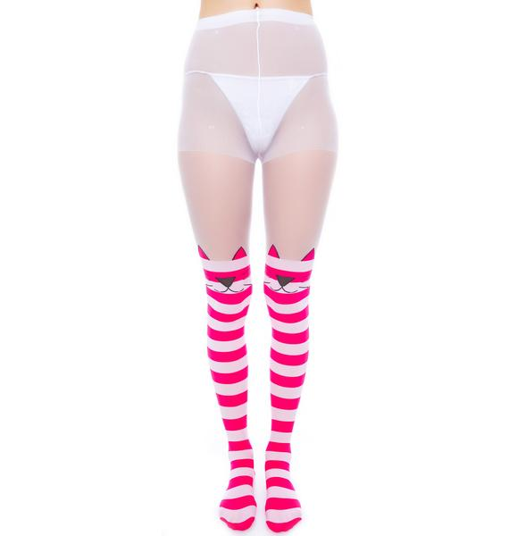 Chesire Cat Opaque Striped Tights