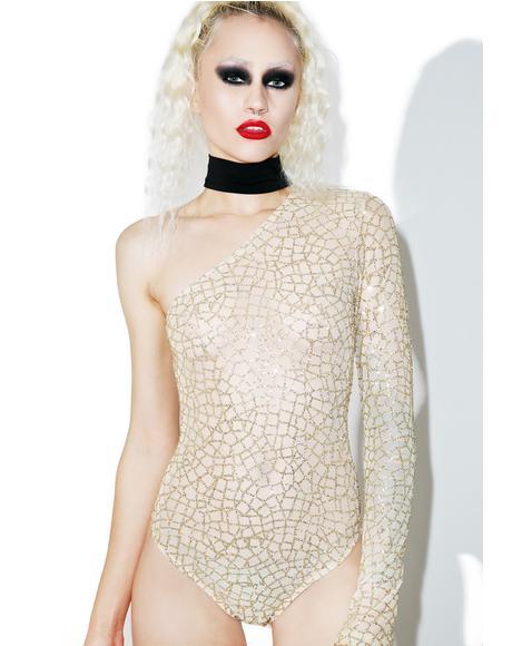 Glitter Mesh One Sleeve Bodysuit