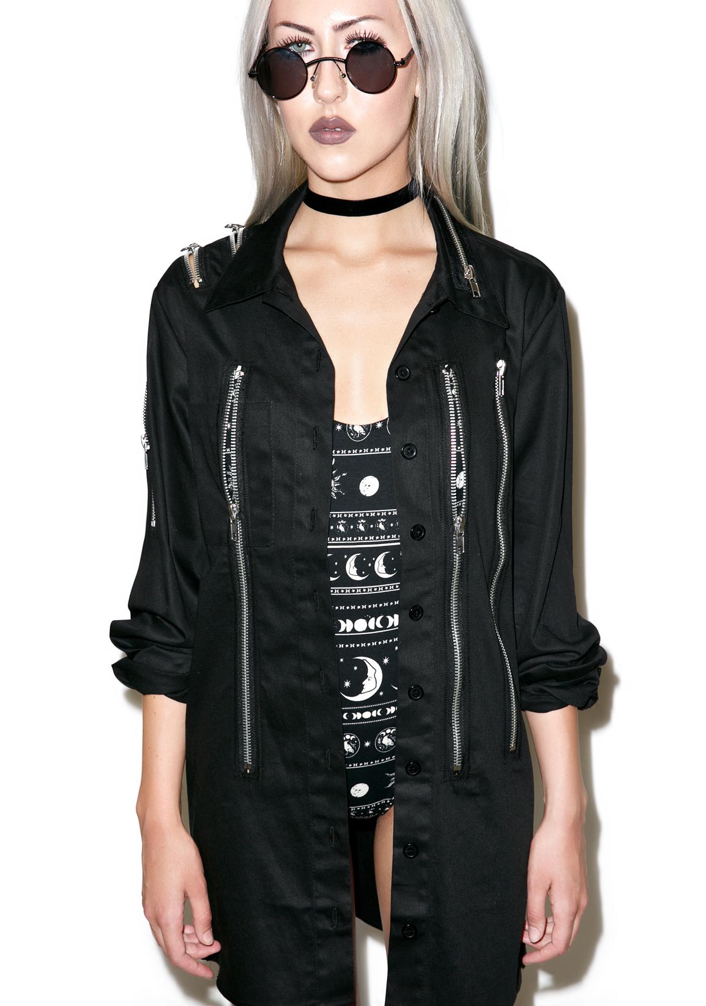 Widow Zipper Head Button Up Top