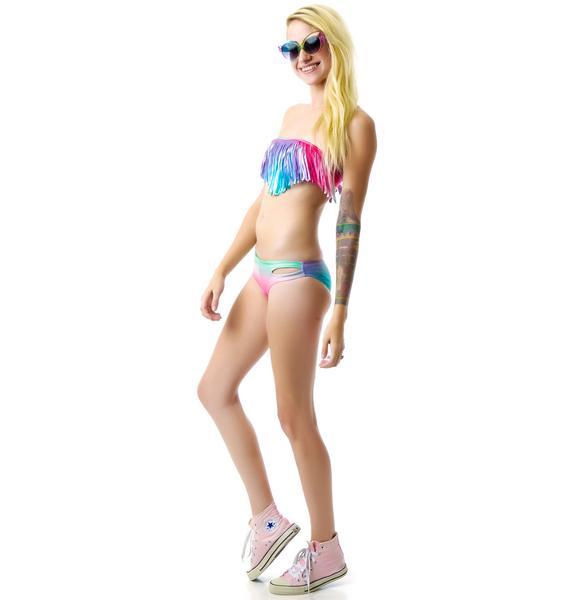 Rainbow Waters Fringe Bikini