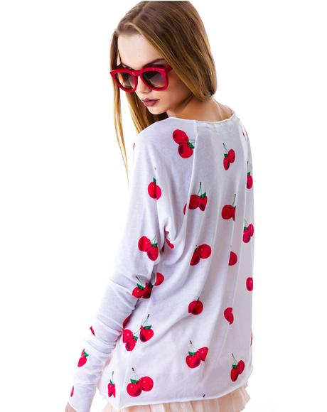 All Over Cherries Cozy Raglan