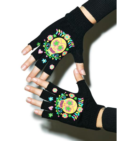 Too Fast Sugar Skull Fingerless Gloves