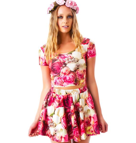 Zara Terez Pink Flower Patch Skater Skirt