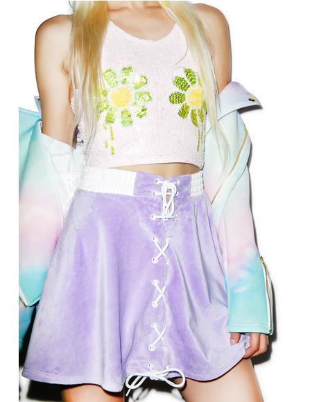Pastel Faux Fur Bomber Skirt