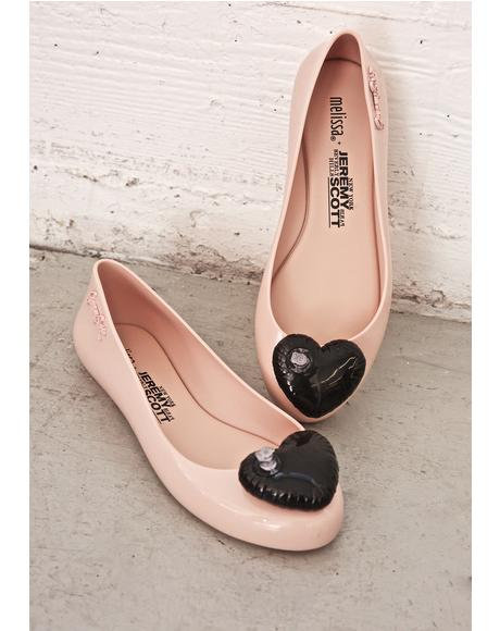 X Jeremy Scott Blush Space Love Flats