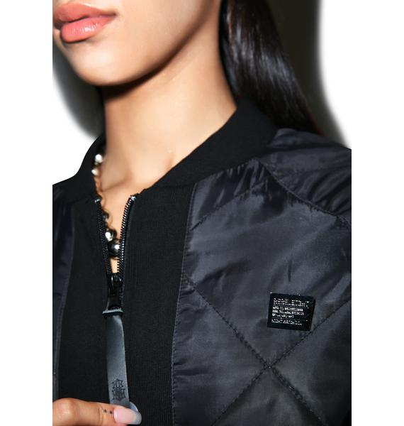 Rebel8 Quilted Logo Bomber Jacket