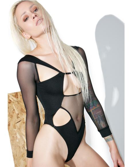 Black Mesh Cutout Bodysuit