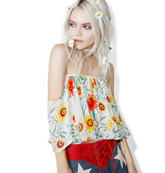 Wildfox Couture Wild Daisy Ruffle Crop Top