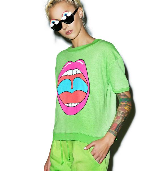 Wildfox Couture Groovy Lips Frenchie Top