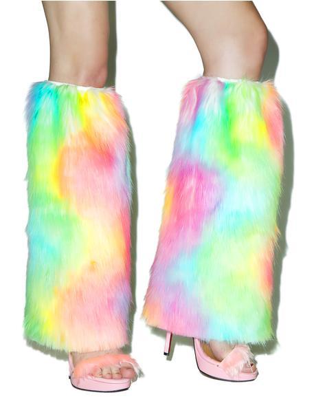 Rainbow Faux Fur Legwarmers