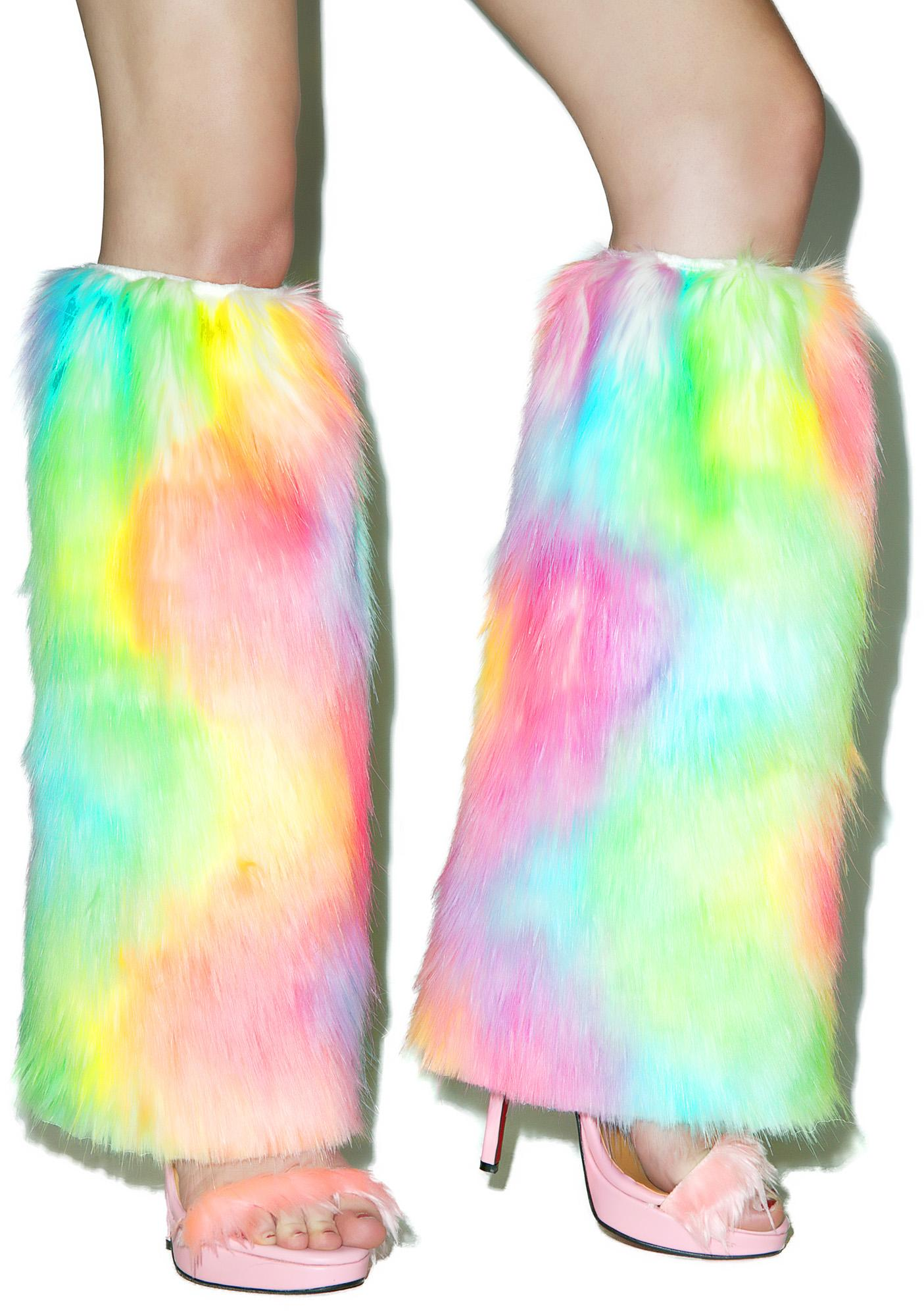 J Valentine Rainbow Faux Fur Legwarmers