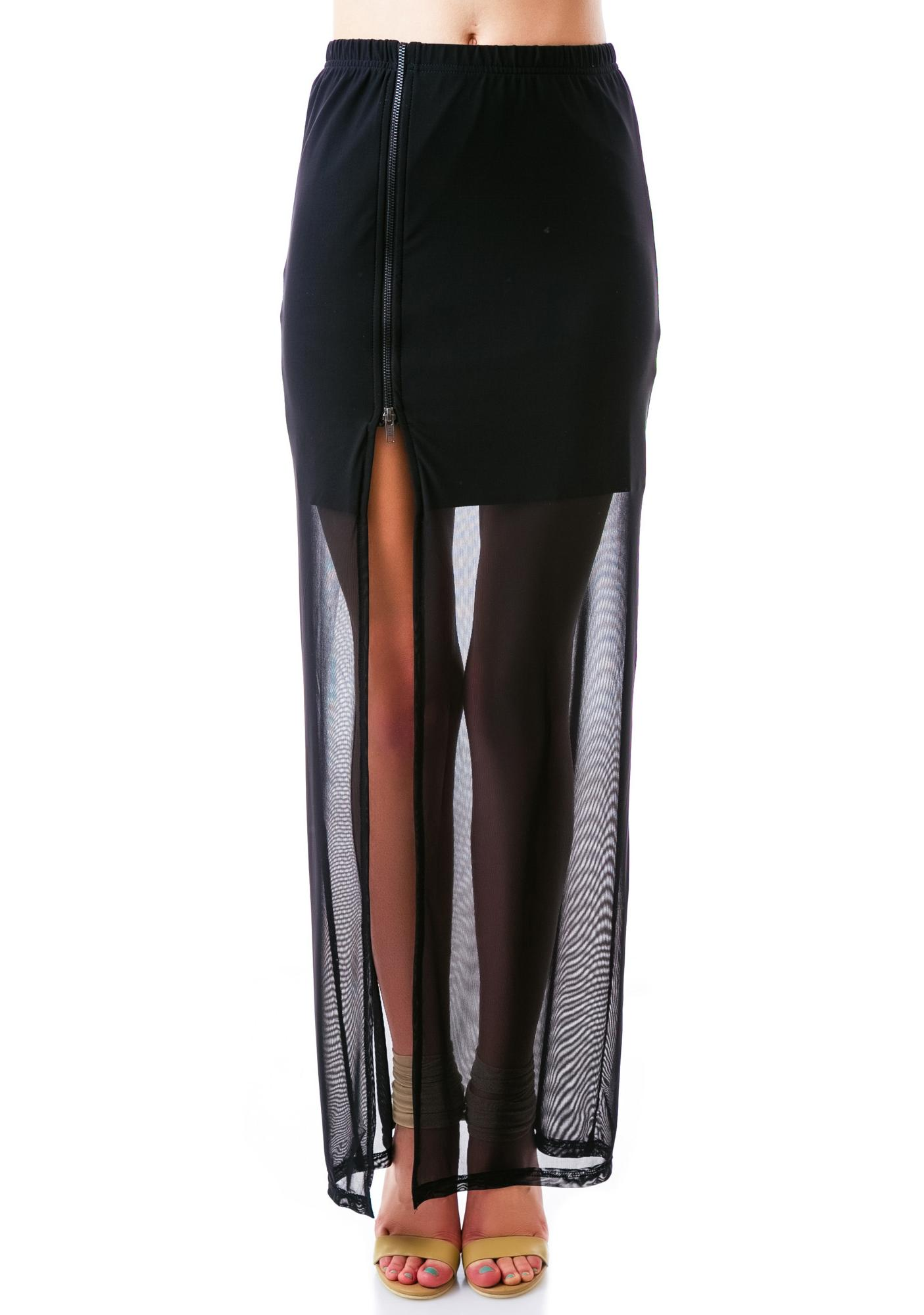 Evil Twin Splitsville Zip Split Maxi Skirt