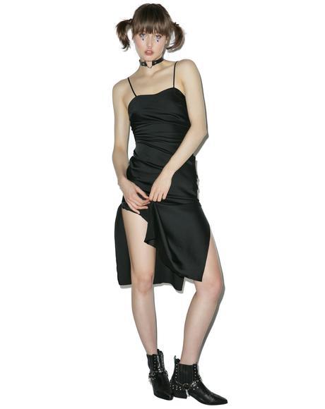 Black Gold Digger Midi Slip Dress