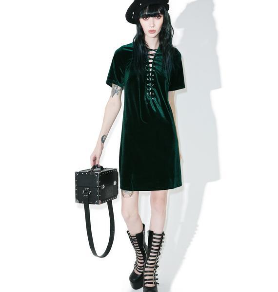 Glamorous Sage Velvet Lace-Up Dress