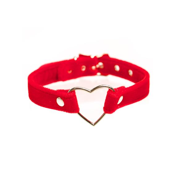 Club Exx Red Velvet Heart Choker