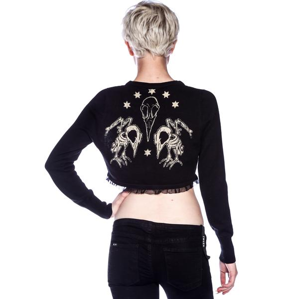 Too Fast Bird Skeleton Lace Front Cardigan