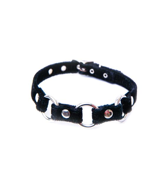 Club Exx Triple Threat Velvet O Ring Choker