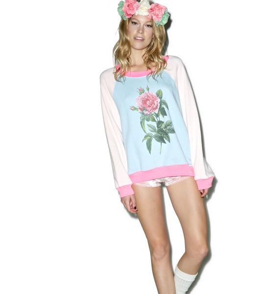 Wildfox Couture Pretty Pink Floral Kim's Sweater