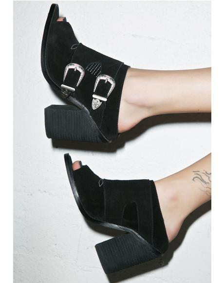 Blind Suede Mules