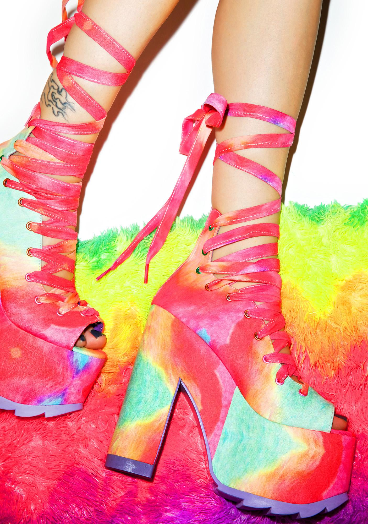Y.R.U. X Dolls Kill Rainbow Ballet Bae Platforms
