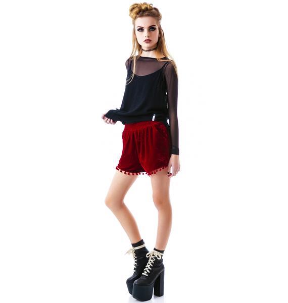 Cherry Poppin Velvet Shorts