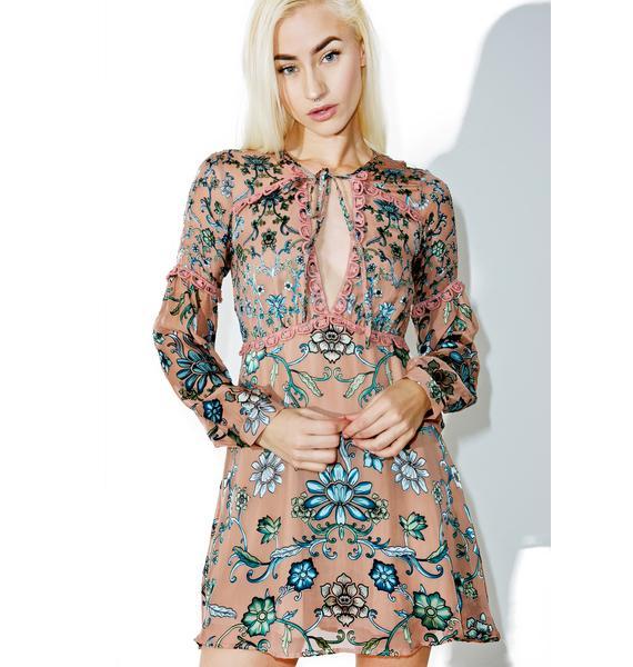 For Love & Lemons Blush Saffron Mini Dress