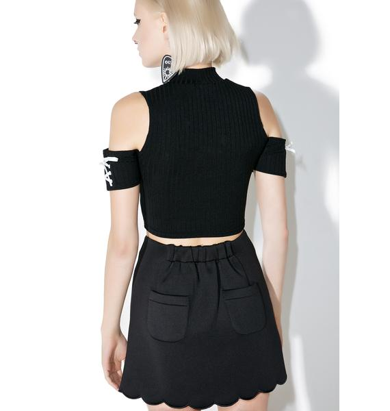 one spo Scalloped Trapezoid Skirt