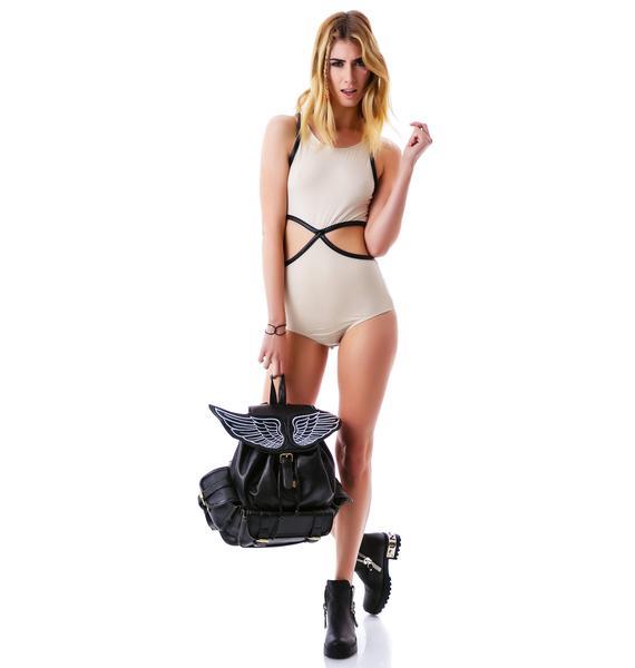 Alicia Leather Trim Cut Out Bodysuit