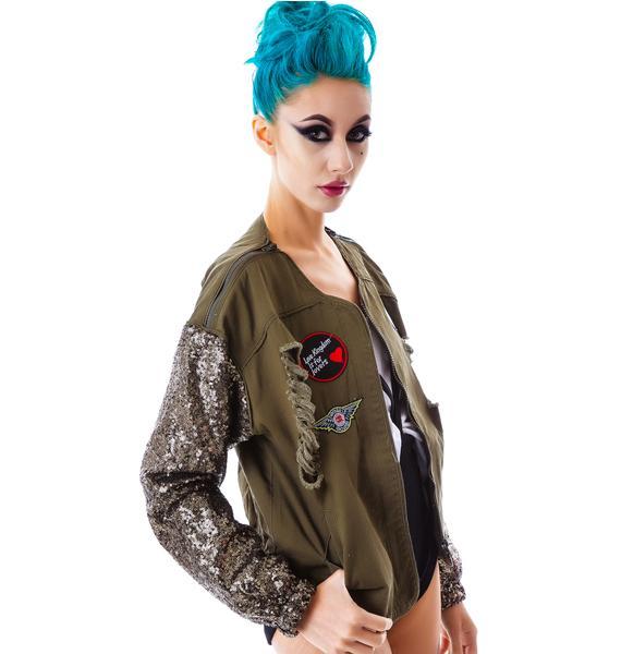 Love Kingdom Sequin Sleeve Jacket