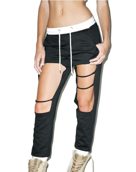 Onyx Distressed Cut-Out Joggers