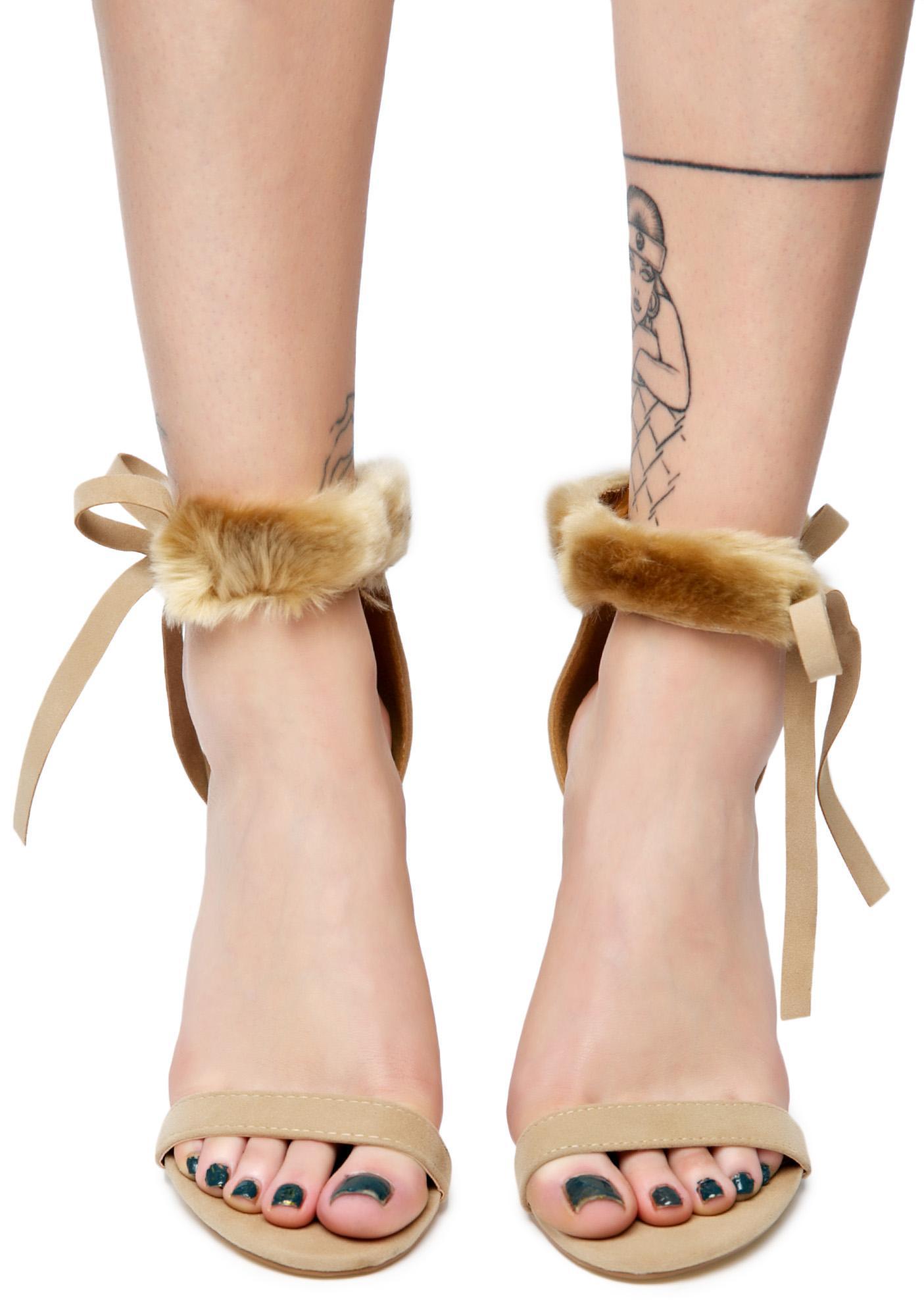 Ecru So Risqué Fuzzy Heels
