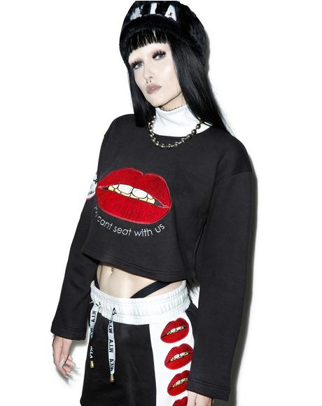 X Dolls Kill Lips Cropped Sweater