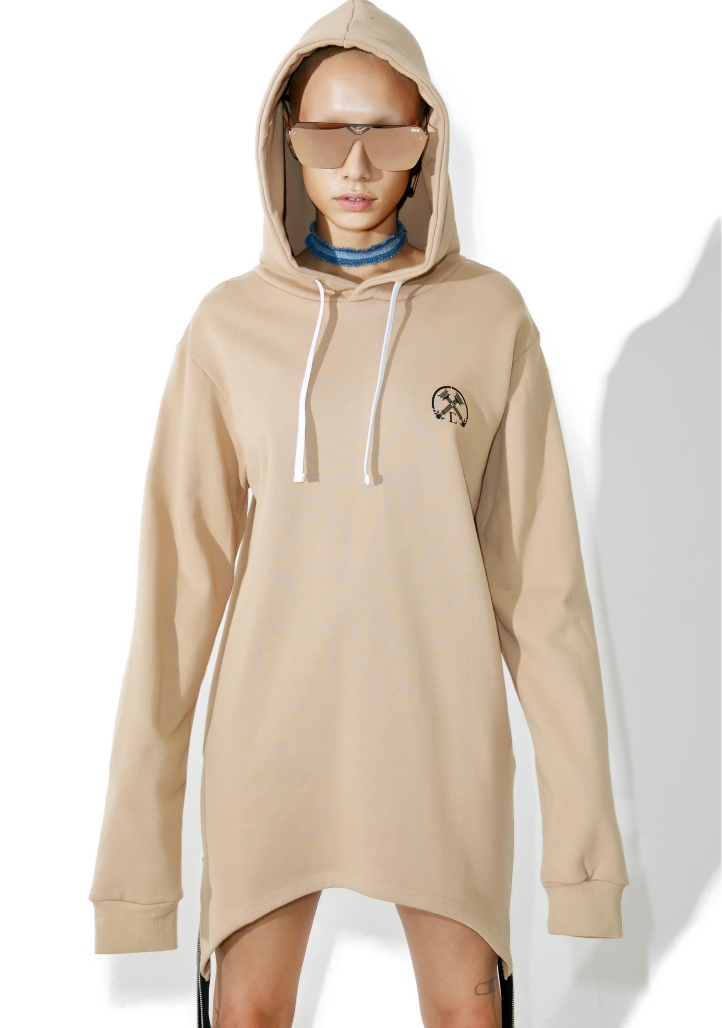 Civil Clothing Sand Extended Zip Reverse Hoodie