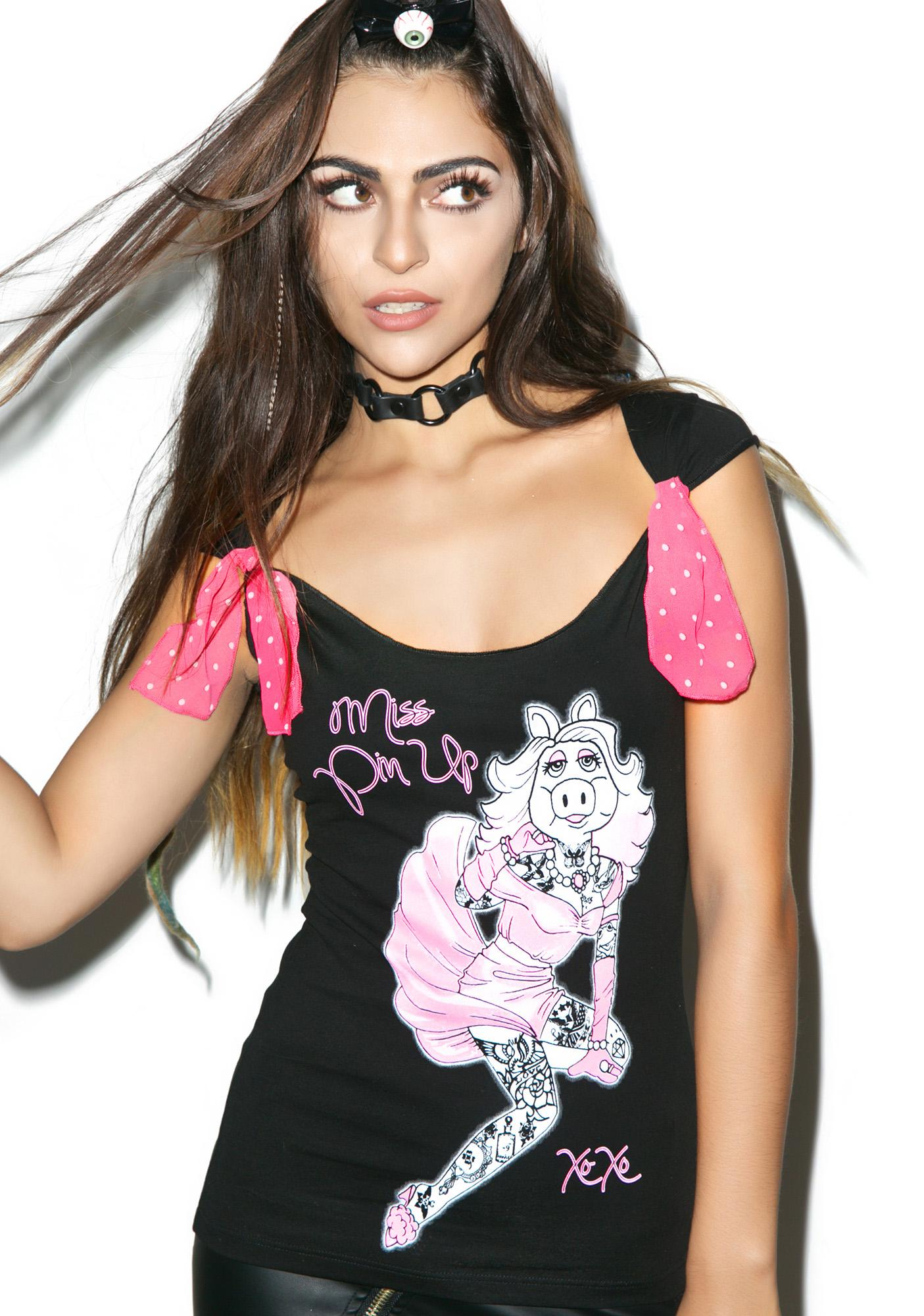 Too Fast Mizz Piggy Pin Up Tee