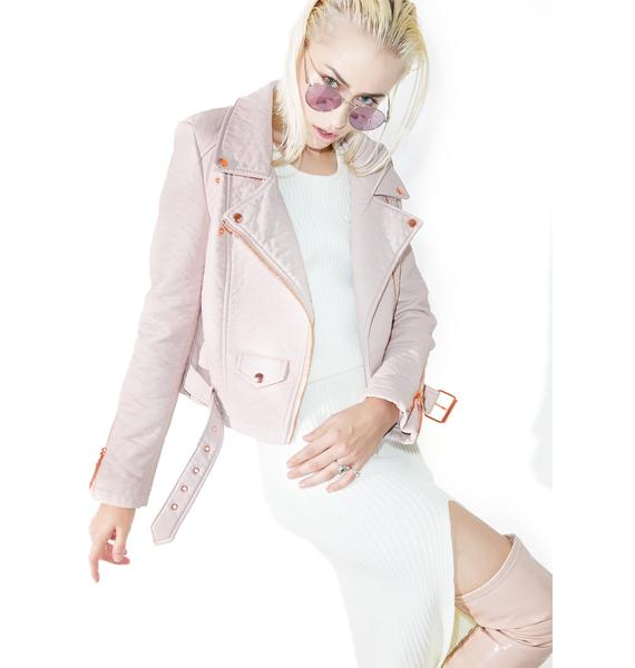 Iron Fist Pink Vegan Leather Moto Jacket